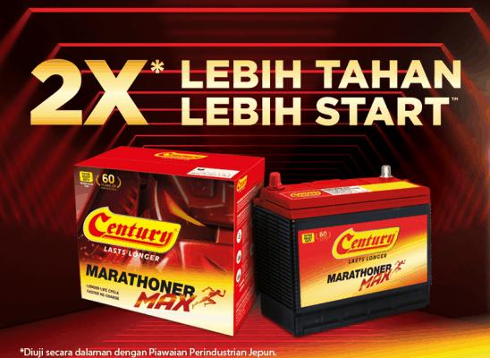 Century Marathoner Max: 2X Lebih Tahan, 2X Lebih Start