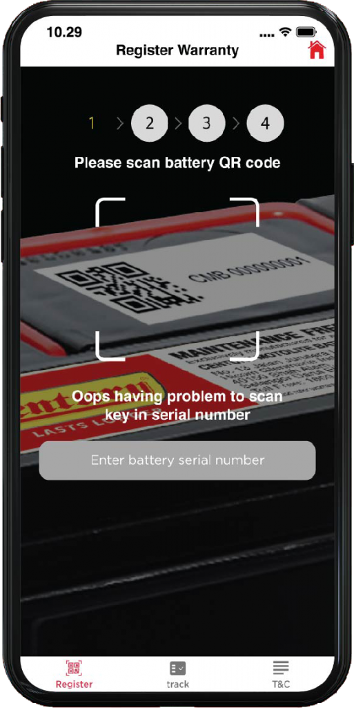 Scan OR Code on Battery